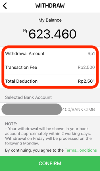Gopay bank account transfer 10